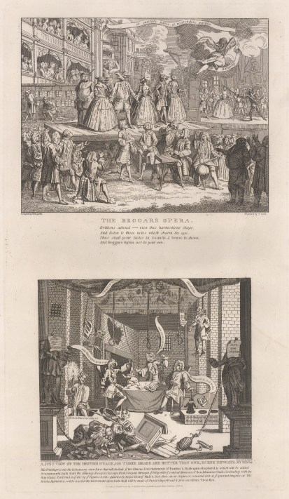 Hogarth: Beggar's Opera & A Just View of the British Stage. 1802. An original antique copper engraving. 11″ x 19″. [MISCp2986]