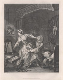 """Before and After. Almost by chance Hogarth had hit on the pictorial form that was to make his reputation. Hogarth was always the businessman, and this quick success gave him a golden idea: instead of depicting lively scenes from another man's play, why not imagine scenes of his own suitable for picturing. Thus began Hogarth's career in dramatic narrative. His first attempt, in 1731, was a pair of paintings entitled Before and After, illustrating a seduction. Said to have been commissioned by """"a certain vicious nobleman"""", the pictures nevertheless contain an element of moralising in that the man in After looks somewhat dazed and unhappy despite his lustful conquest. Sold as a pair."""