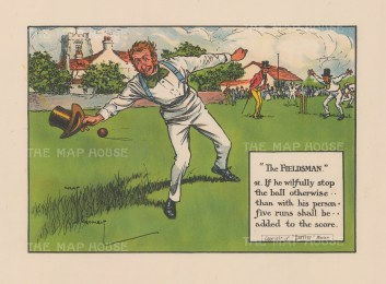 """""""The Fieldsman - 41. If he wilfully stop the ball otherwise than with his persn, five runs shall be added to the score."""""""