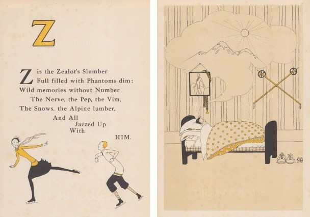 Z is the Zealot's Slumber. Rhyme, and sleeping skier. Double window mounted.