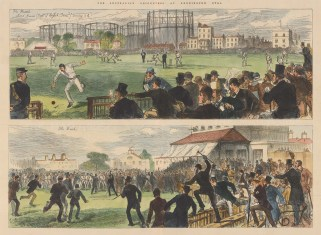 Australia v. England at the Kennington Oval. Double panorama of the match.