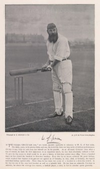 WG. Grace. Waiting to bat. With signature and brief career history.