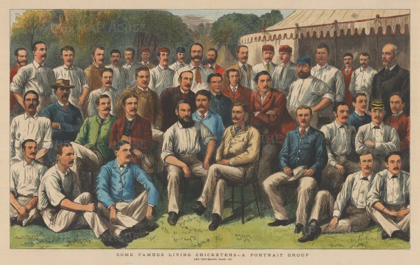 """Graphic Magazine: Cricketers. 1883. A hand coloured original antique wood engraving. 20"""" x 13"""". [SPORTSp3261]"""