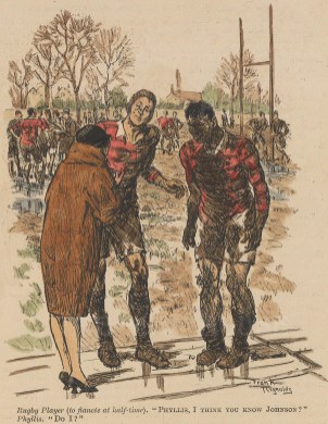 """Punch: Rugby. c1920. A hand coloured original antique wood engraving. 4"""" x 6"""". [SPORTSp3305]"""
