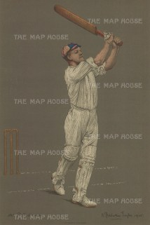Sir Francis Pelham Warner batting. The 'Grand Old Man' of Cricket, Warner went on to have a career as a manager, commentator, and historian.