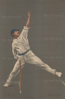 Schofield Haigh bowling. Haigh played nearly two decades for Yorkshire and England, being particularly known for his break-back.