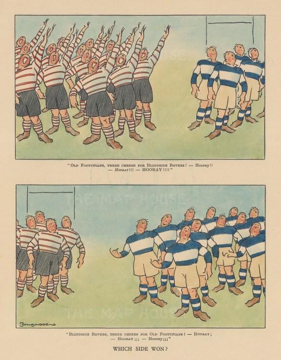 "Bateman: Rugby. c1930. A hand coloured original vintage lithograph. 7"" x 10"". [SPORTSp3457]"