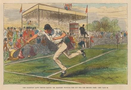 Lawn Tennis Match. Mr Hartley winning.