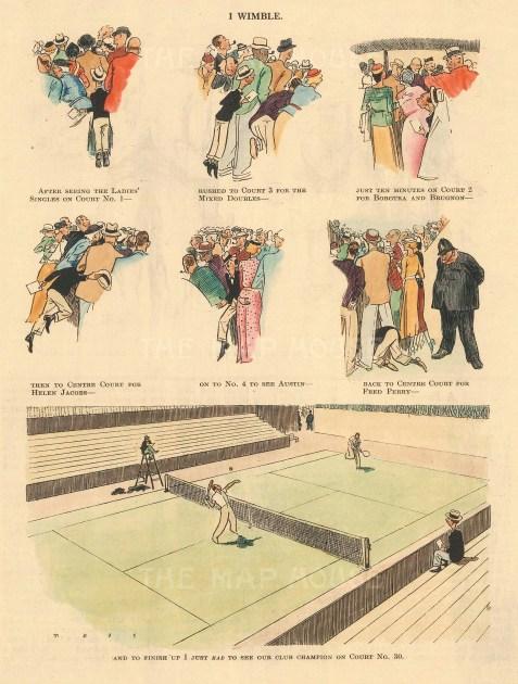 "Punch: Tennis. 1936. A hand coloured original vintage wood engraving. 5"" x 7"". [SPORTSp3499]"