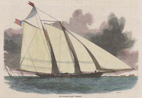 "Illustrated London News: Schooner Yacht, America. 1851. A hand coloured original antique wood engraving. 8"" x 6"". [SPORTSp3514]"