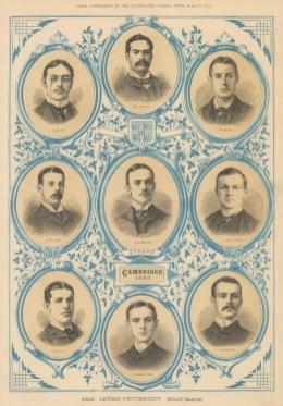 B&W portraits of the Cambridge Crew with decorative light blue detail.