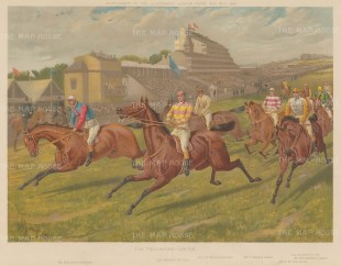 The preliminary canter. Showing Raconteur, the winner Sir Visto. Kirkconnel, Curzon, Le Var, Laveno and Solaro. With key.