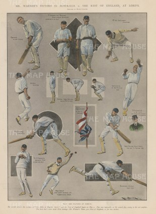 Australia v. England. 15 vignettes of players during the match.