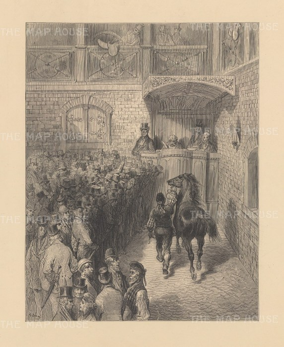 View of an auction. From the famous French artist's four year pilgrimage through London.