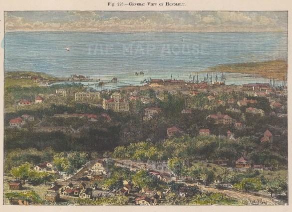 "Reclus: Honolulu, Hawaii. 1894. A hand coloured original antique wood engraving. 8"" x 6"". [USAp5052]"