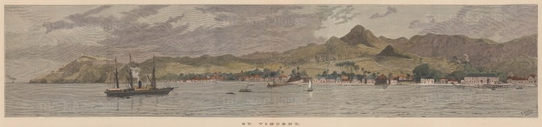 Panorama of the port of St Vincent.