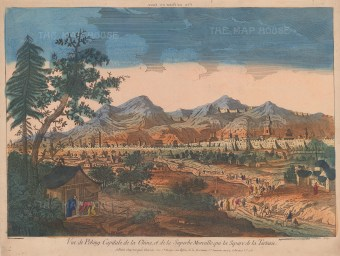 Peking (Beijing) with the wall of China: Based on an 18th century vue d'optique after an earlier view by Johan Nieuhoff during his 1654-7 visit as secretary to the Dutch Embassy.