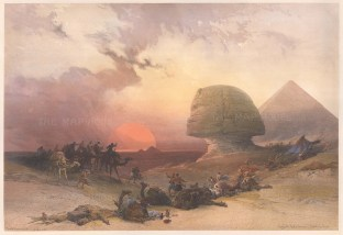 Approach of the Simoon. The Great Sphynx with the infamous, hot cyclonic wind twisting up before the darkening sun. The most dramatic scene in the series. RARE subscribers' edition.