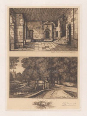 Pump and Hall steps in the South Cloisters and Sheep's Bridge. Signed in pencil.