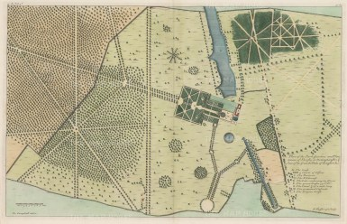 Plan of the gardens and surrounding woodland.