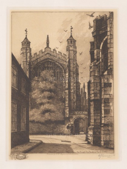 View of the Chapel from Brewhouse Yard. Signed in pencil.