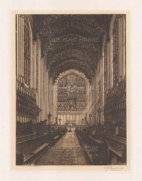 Chapel view of the interior. Signed in pencil.