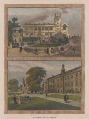 "Illustrated London News: Shrewsbury School, Shropshire. 1896. A hand coloured original antique wood engraving. 10"" x 13"". [ENGp215]"