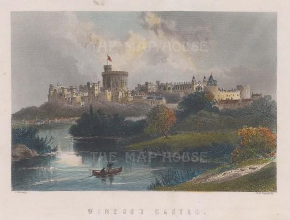 "Ramage: Windsor Castle, Berkshire. c1840. A hand coloured original antique steel engraving. 7"" x 4"". [ENGp303]"