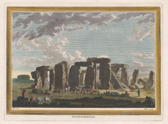 "Heath: Stonehenge, Wiltshire. 1810. A hand coloured original antique copper engraving. 8"" x 6"". [ENGp308]"