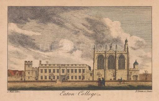 "Wale: Eton College, Berkshire. 1761. A hand coloured original antique copper engraving. 5"" x 3"". [ENGp320]"