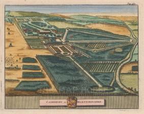 "van der Aa: Cashiobury, Hertfordshire. 1727. A hand coloured original antique copper engraving. 7"" x 5"". [ENGp34]"
