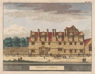 "van der Aa: St.Albans School, Hertfordshire. 1727. A hand coloured original antique copper engraving. 7"" x 5"". [ENGp43]"