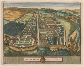 """van der Aa: Lowther, Westmorland. 1727. A hand coloured original antique copper engraving. 7"""" x 5"""". [ENGp53]"""
