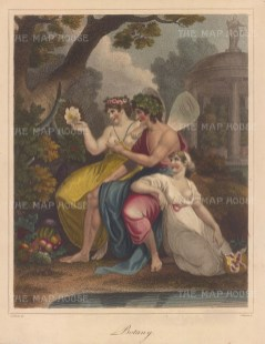 Flora, Zephyrus, and their daughter Carpo examining the Night-Blooming Cereus.