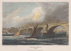 "Vernor: Strand Bridge. 1816. A hand coloured original antique steel engraving. 7"" x 5"". [LDNp10071]"