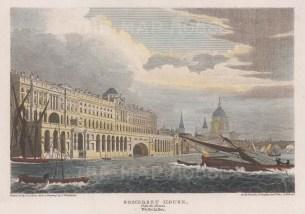 "Vernor: Somerset House. 1810. A hand coloured original antique steel engraving. 7"" x 5"". [LDNp10072]"