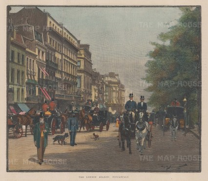 """Illustrated London News: Piccadilly. 1895. A hand coloured original antique wood engraving. 10"""" x 9"""". [LDNp10134]"""