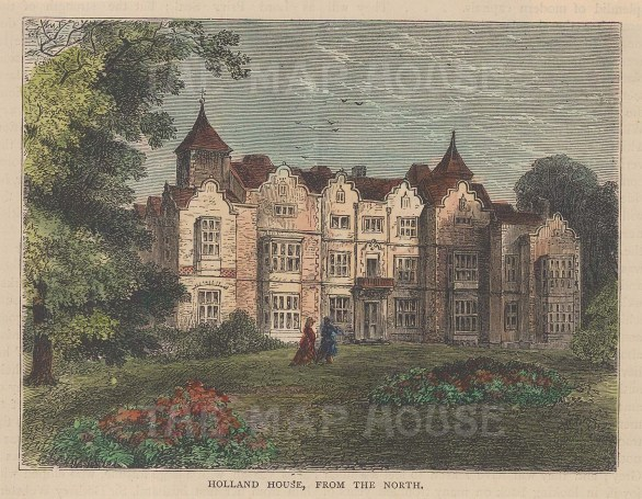 """Old & New: Holland House. 1880. A hand coloured original antique wood engraving. 6"""" x 4"""". [LDNp10183]"""