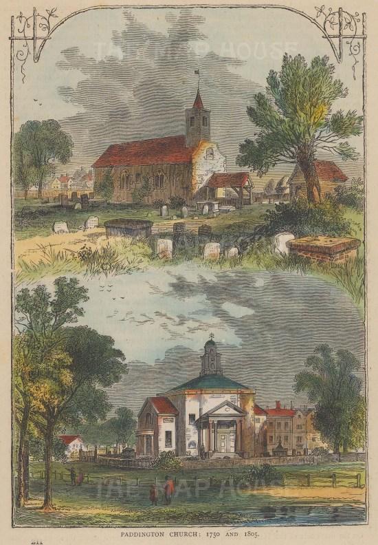 Paddington Church, views of the church in 1750 and 1805.