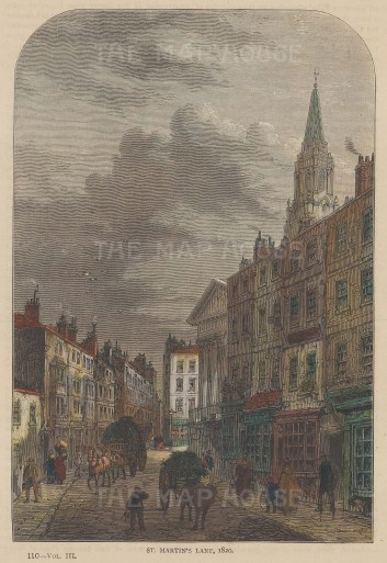 """Old & New: St Martin's Lane. c1880. A hand coloured original antique wood engraving. 6"""" x 8"""". [LDNp10253]"""