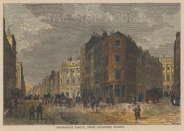 """Old & New: Piccadilly Circus. c1880. A hand coloured original antique wood engraving. 6"""" x 4"""". [LDNp10258]"""