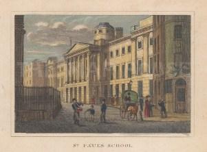 "Dugdale: St Paul's School. 1829. A hand coloured original antique steel engraving. 4"" x 3"". [LDNp10338]"