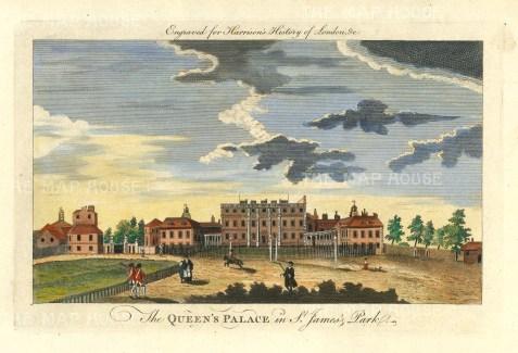 "Harrison: Buckingham Palace. 1775. A hand coloured original antique copper engraving. 14"" x 7"". [LDNp10349]"