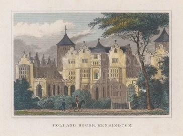"Dugdale: Holland House. 1829. A hand coloured original antique steel engraving. 4"" x 3"". [LDNp10430]"