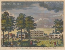"London Magazine: Buckingham Palace. 1762. A hand coloured original antique copper engraving. 10"" x 8"". [LDNp10577]"