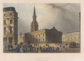 "Tallis: St Martin's in the Fields. 1851. A hand coloured original antique steel engraving. 6"" x 4"". [LDNp10635]"