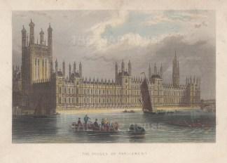 "Tallis: House of Parliament. 1851. A hand coloured original antique steel engraving. 6"" x 4"". [LDNp10763]"