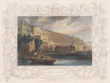 "Tombleson: Adelphi Terrace. 1845. A hand coloured original antique steel engraving. 8"" x 7"". [LDNp7080]"