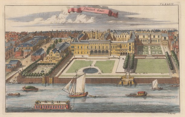 """Stow: Somerset House. 1754. A hand coloured original antique copper engraving. 13"""" x 9"""". [LDNp8352]"""