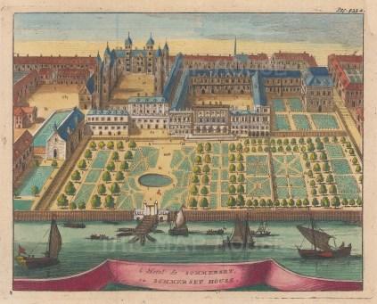 "van der Aa: Somerset House. 1706. A hand coloured original antique copper engraving. 6"" x 5"". [LDNp9269]"